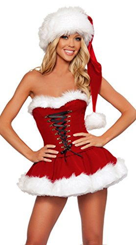 WELVT Girl's Miss Santa Christmas Elf Costumes Suit With Hat Sexy Lingerie (Plus Size Santas Helper Christmas Costumes)