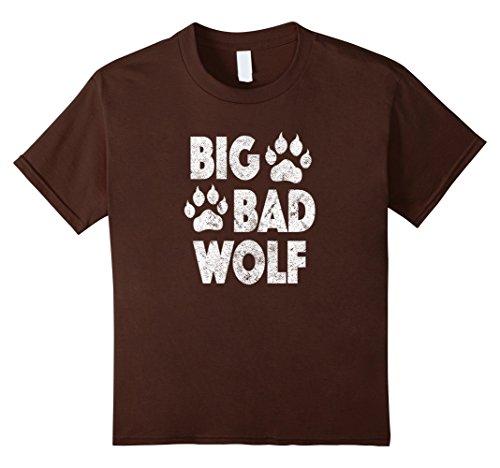 Big Bad Wolf Girl Costume (Kids Big Bad Wolf Halloween Costume Paw Print T Shirt 10 Brown)