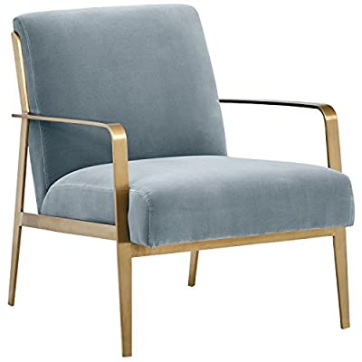 """Amazon Brand – Rivet Clover Modern Glam Velvet Brass Arm Accent Chair, 27.25""""W, Navy - Add modern glamour to any room with this high-style accent chair.  A contemporary design with combined materials of plush velvet and brushed brass metal, it's as comfortable as it is sophisticated. 27.25""""W x  33''D x 32''H Steel with a brushed brass finish; soft 100% cotton velvet - living-room-furniture, living-room, accent-chairs - 41oD4gDAPyL. SS400  -"""