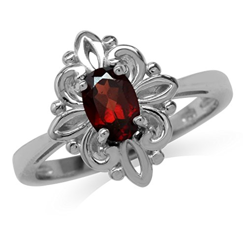 Natural Garnet White Gold Plated 925 Sterling Silver Victorian Style Flower Ring Size ()