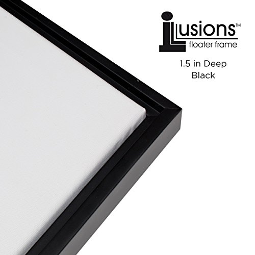Illusions Floater Frame for 1-1/2 Canvas 24x36 - Solid Black - Floater Frame