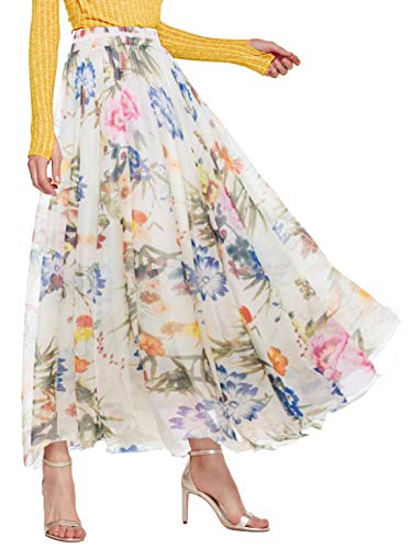 AMORMIO Women's Stylish Floral Print Chiffon Lined Ankle-Length Boho Full Long Maxi Holiday Skirts (Off-White, Medium)
