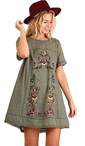 Umgee Women's Bohemian Embroidered Short Sleeve Dress or Tunic (L, (Embroidered Olive)
