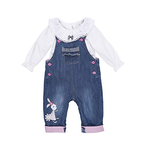 Baby & Little Boys/Girls Rabbit Embroidered Denim Overalls Jeans Suit (3-6 Months, Blue)