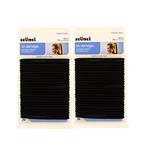 Scunci Thick Hair Black Elastics | All day strong hold No-Damage | 5mm thickness | 24-Pieces per pack | 2-Pack