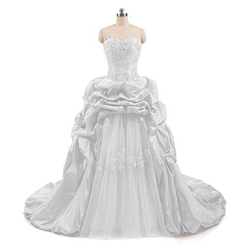 XSWPL Elegant Appliques Beaded Quinceanera Dresses Ball Gown Taffeta Sweet 16 Dresses Ivory US12