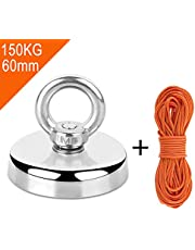 Neodymium Eyebolt Magnet Fishing Magnet with Rope x 30m, Diameter 60mm Thick 15mm N52 Holding Pull Force 300LBS(136KG) Pot Magnet with Countersunk Hole for Magnet Fishing and Salvage in River
