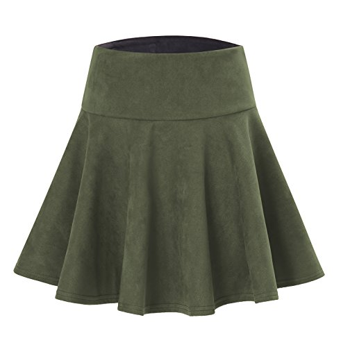 Pleat Hem Skirt (Women's Faux Suede Stretchy Skirt with Pleats Flattering Hem Army Green L)