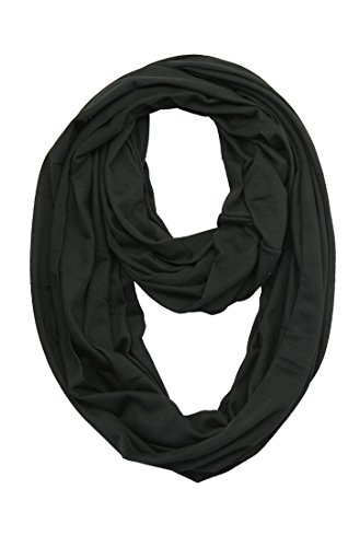 (MissShorthair Lightweight Plain Infinity Scarfs for Women(Black) )