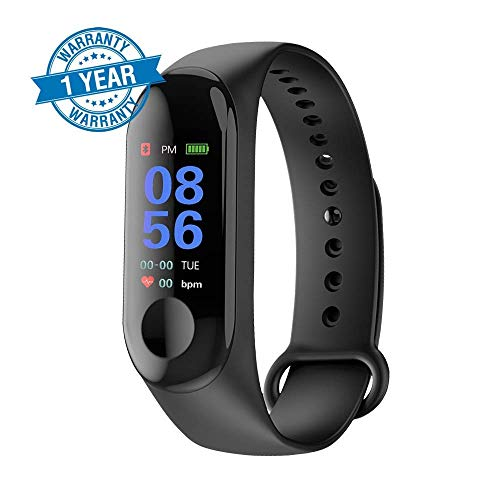 VOSAVO M3 Smart Band Tracker Watch Heart Rate with Activity Tracker Waterproof Body Functions Like Steps Counter, Calorie Counter, Blood Pressure, Heart Rate Monitor OLED Touchscreen