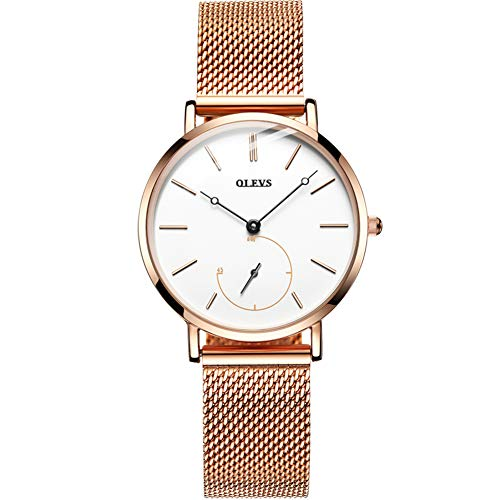 Watches for Women Ultra Thin Watches Milano Stainless Steel Rose Gold Ladies Watch Quartz Watch White face with Second Dial Female Wrist Watch Water Resistant Watch for Girls Gift Box (Milano Ladies Fashion Watch)