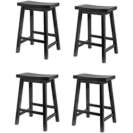 Winsome Wood 24 Inch Saddle Seat Counter Stool ScQucM Black 4 Pack