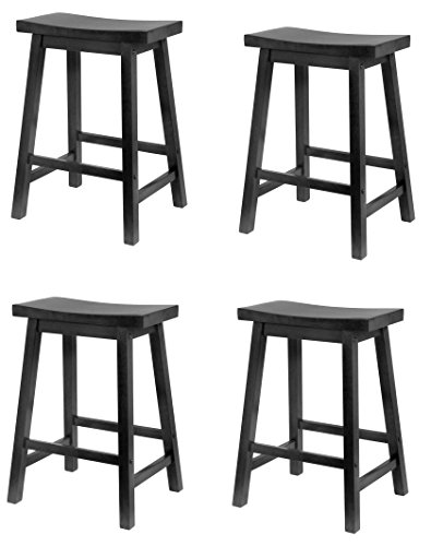 4 Pack Counter (Winsome Wood 24-Inch Saddle Seat Counter Stool Black, 4 Pack)
