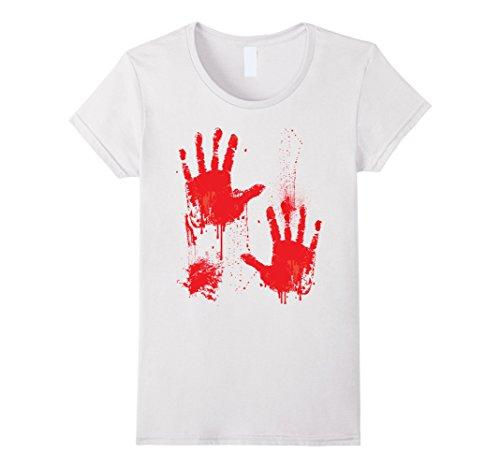 Womens Bloody T-Shirt Halloween costume Zombie Vampire Hands Drip Large White
