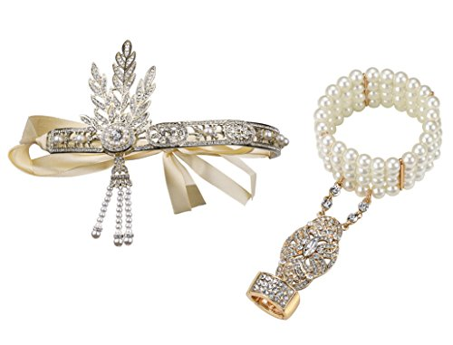 [BABEYOND Bling Golden-Tone The Great Gatsby Inspired Leaf Simulated Pearl 1920s Flapper Headband and Bracelet Adjustable Ring] (Dress Deluxe Costumes)
