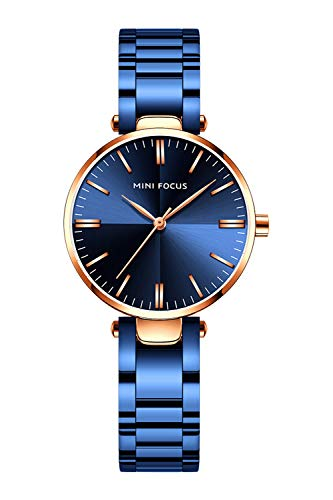 Womens Watch,Stone Quartz Watch with Stainless Steel Casual Fashion Dress Wrist Watch for Ladies(Blue)