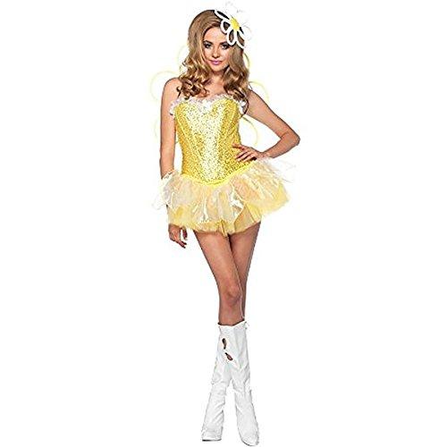 Leg Avenue Women's 4 Piece Daisy Doll Costume with LED light up Headpiece, Yellow, Large (Flower Headpiece Halloween)