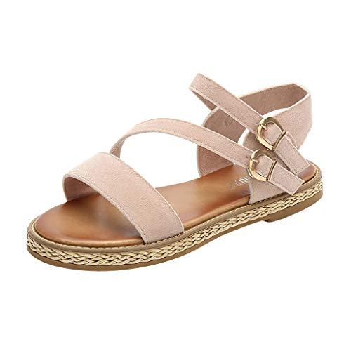 - Toimothcn Flat Sandals, Women' Buckle Ankle Strap Beach Sandals Open Toe Flip-Flops Sandals(Beige,US:6.5)