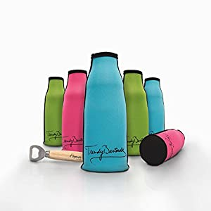 Bottle Insulator - Premium Set Of 6 Colored Insulated Beer Bottle Zipper Coolies - Collapsible Extra Thick Neoprene Bottle Coolers By Trendy Bartender - Keep Your Drinks Chilled