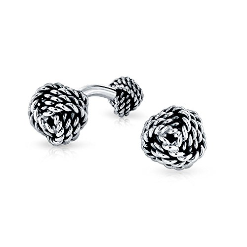 Mens Executive Round Ball Woven Braid Twist Cable Rope Knot French Cufflinks For Men 925 Sterling Silver