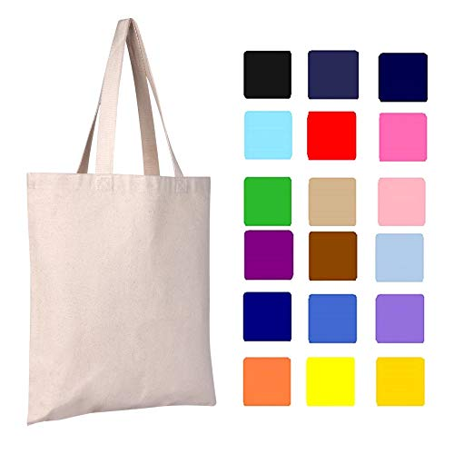 Canvas Tote Bag | 12 Pack | Heavy Duty, Sturdy, 15