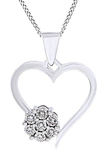 White Natural Diamond Cluster Flower Heart Pendant In 14k White Gold Over sterling Silver (0.1 Ct)