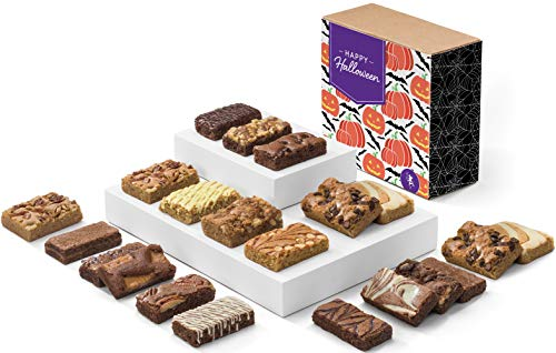 Fairytale Brownies Halloween Bar & Sprite Combo Gourmet Chocolate Food Gift Basket - 3 Inch x 1.5 Inch Snack-Size Brownies and 3 Inch x 2 Inch Blondie Bars - 21 Pieces - Item CL382 -