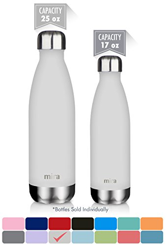 MIRA Vacuum Insulated Stainless Steel Water Bottle | Leak-proof Double Walled Cola Shape Sports Water Bottle | No Sweating, Keeps Your Drink Cold 24 hours or Hot 12 hours | 25 Oz (750 ml) | Gray