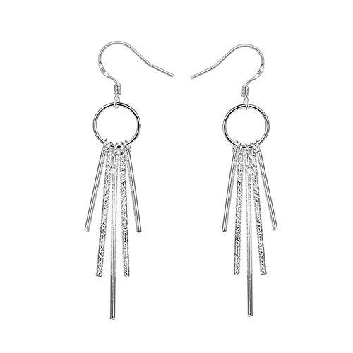 Alicenter(TM) Women's Jewelry 925 Sterling silver SP vintage Five Columns Dangle Earrings
