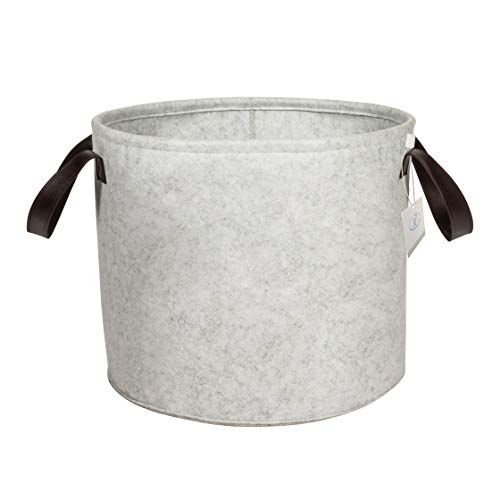 """Large Felt Storage Basket with Leather Handle - 14.5""""H x 17.5""""D Hamper - Tall Storage Bin for Baby Nursery, Living Room or Laundry - Organizer for Toys, Blankets, Towels and More"""