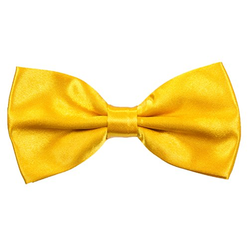 Boys Pre tied Bow ties - Children Kids Adjustable Solid Color Wedding Party Satin Bowties Golden yellow