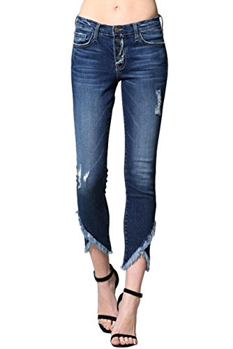 s Mid Rise Dark Wash Mid Rise Distressed Skinny Jeans with Double Slanted Raw Hems (Ojai, 28) (Mid Rise Womens Dark Wash)