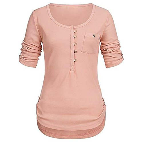 Teresamoon Women's O Neck Casual Blouses Round Hem Henley Shirts Tops