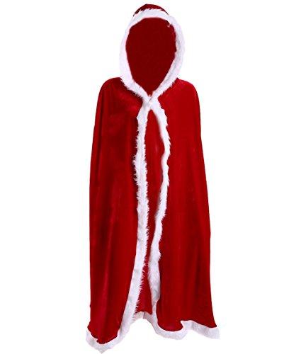 [LadyKing Women's Christmas Cloak Velvet Mrs Santa Hooded Girls Xmas Cape Costume Red L] (Snowman Dance Costumes)