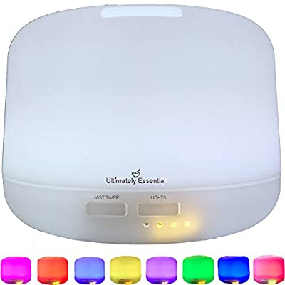 Ultimately Essential Ultrasonic Aromatherapy 300 ml Cool Mist Oil Diffuser/Ionizer, Multiple LED Lights, Covers Large Area with Wondrous Aroma! Download FREE Essential Oils Handbook w/Blending Recipes