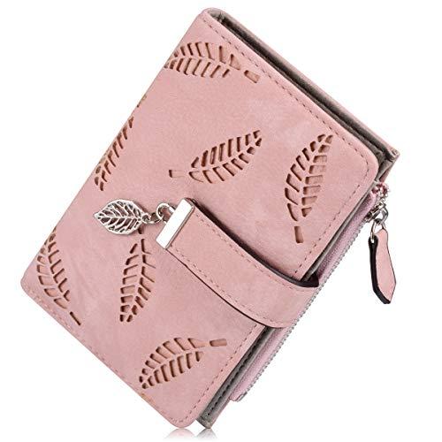 Women's Wallet, Short Matte PU Leather Card Holder Purse Zipper Buckle Elegant Clutch Wallet Coin Purse (Matte Pink) - Womens Elegant Pu Leather