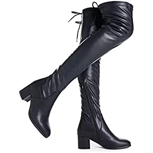 28654f1f5b36 DREAM PAIRS Women s Over The Knee Thigh High Low Block Heel Boots