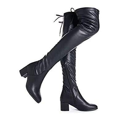 7c805272df44b DREAM PAIRS Women s Laurence Black Pu Over The Knee Thigh High Chunky Heel  Boots Size 5