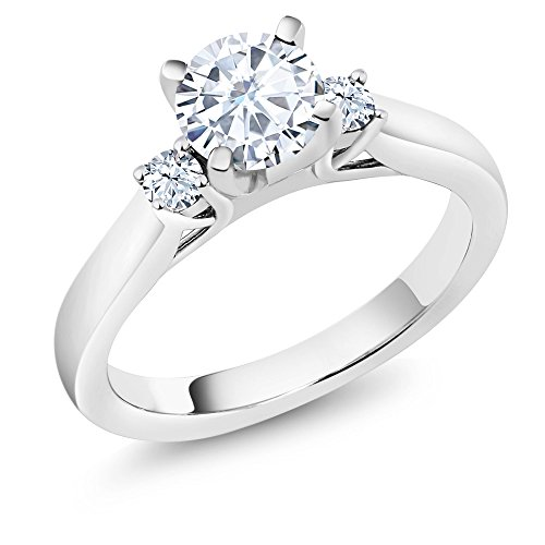 0.94 Ct Created Moissanite Created Sapphire 925 Sterling