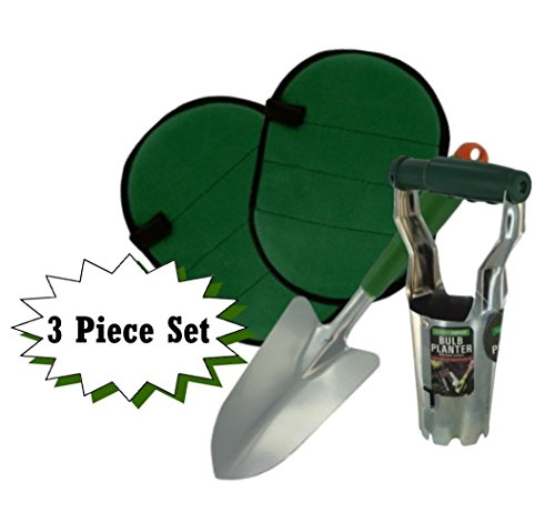 Garden Tool Set - Includes Bulb Planter, Knee Pads, and Hand Shovel