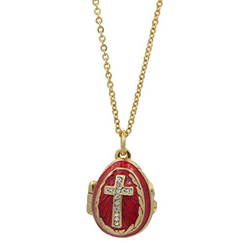 - BestPysanky Red Enamel Crystal Cross Royal Egg Pendant Necklace 20 Inches