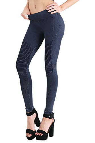 Denim Vintage Leggings (Nikibiki Womens Seamless Vintage Moto Leggings One Size Vintage Denim Blue)