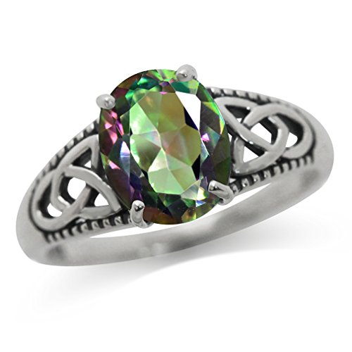 3.04ct. Mystic Fire Topaz 925 Sterling Silver Triquetra Celtic Knot Solitaire Ring Size 6