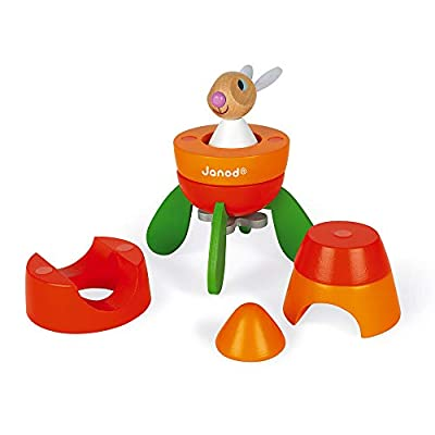 Janod Wood Rabbit Magnetic Carrot Rocket Kit – 2-in-1 Game - 5 Piece Stacker Toy – Creative, Imaginative, Inventive, and Developmental Play – Montessori, STEM Approach to Learning – Ages 2-6 Years: Toys & Games