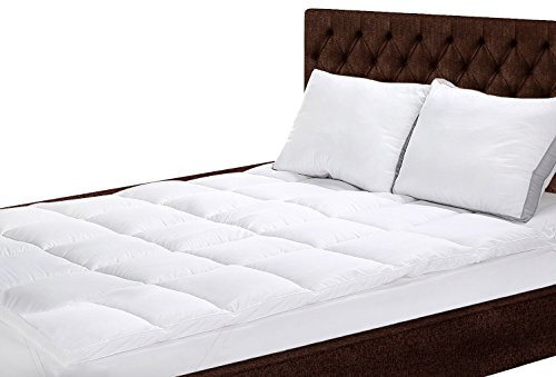 Polyester Mattress Topper (Full) - Polyester Fabric Mattress Topper and Protector - Silconized Fiber Filling - By Utopia Bedding Image