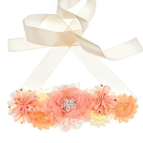 Natural Coral Flower Pink (Floral Fall Flowers Maternity Sash Baby Shower Belly Belt Photo Prop Gift Gender Reveal Party SH-18 (Coral))