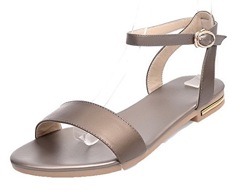 WeiPoot Gold Solid Buckle Low Toe Heels Open EGHLH004708 Pu Women's Sandals vqZrv