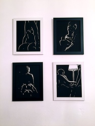 Sex in the Dark_ Home Decoration Sex Painting Picture Poster, on Canvas Modern Wall Art High Q. Wall Decor (8.5 X 11 Inch/pc) 2 Black & 2 White Frames 4pcs/set by Sex in The Dark