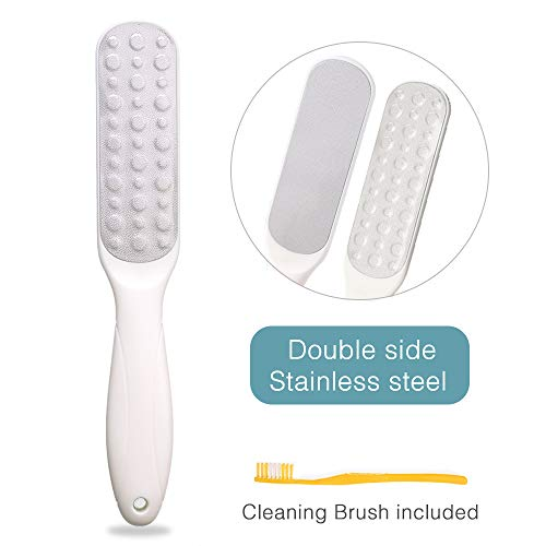 (2-Sided Stainless Steel Foot File by Pure & Merit: [1pc White] Double Sided Foot Care Pedicure Rasp Tools Long Lasting Metal Callus Remover Smooth Handle Foot File Callus Remover, Smoothen)