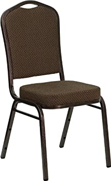 Flash Furniture HERCULES Series Crown Back Stacking Banquet Chair in Brown Patterned Fabric – Copper Vein Frame